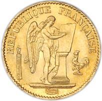 FRANCE GOLD 20 FRANC (1871-1898, ANGEL)