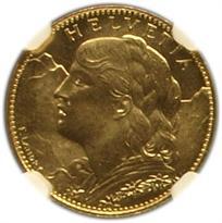 SWITZERLAND GOLD 10 FRANC (1911-1922)