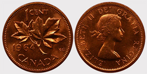1 cent 1964-Extra Spine Elizabeth II Copper Price - Canada