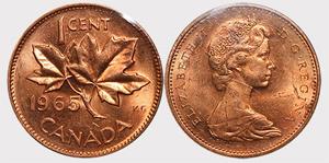 1 Cent 1965 Large Beads Pointed 5 Elizabeth II