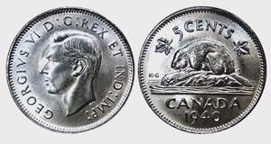 5 cents 1942-Tombac George VI Nickel Price - Canada Nickel