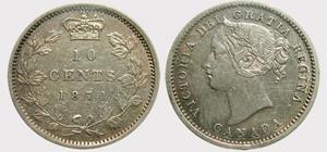 10 cents 1870- Narow 0  Victoria