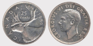 25 cents 1950 George VI