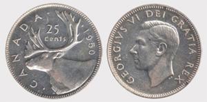 25 cents 1950 George VI