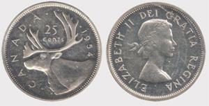 25 cents 1954 Elizabeth II