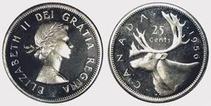 25 cents 1955 Elizabeth II