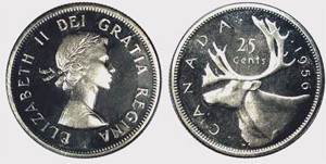 25 cents 1955 - Double Die Elizabeth II
