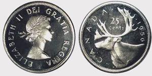 25 cents 1955 - Double Die Elizabeth II