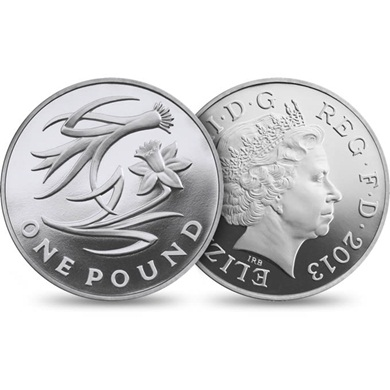 The 2013 Wales Euro 1 Floral Silver Proof (as part of the four-coin set)