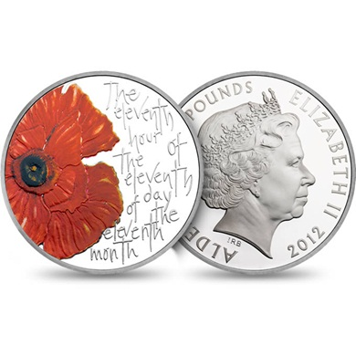 Remembrance Day 2012 Alderney Euro 5 Silver Proof Coin