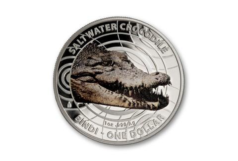 2012 Australia 1-oz Silver Saltwater Crocodile Colored Proof