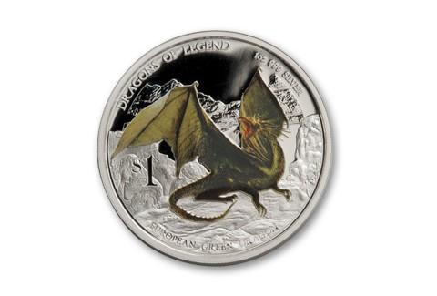 2013 Tuvalu 1-oz Silver Green Dragon Proof
