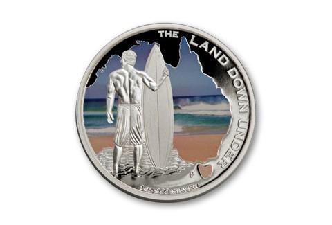2013 Australia 1-oz Silver Land Down Under Surfing Proof