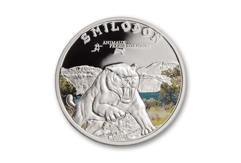 2011 1000 Francs Silver Sabre Tooth Tiger Proof