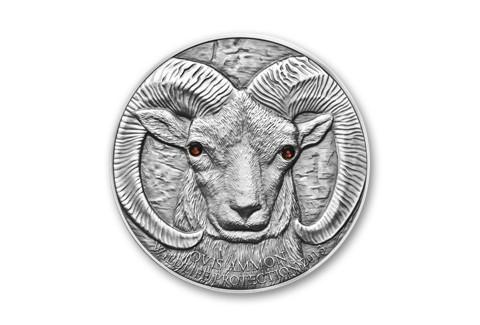 2013 Mongolia 1-oz Silver Wild Sheep Antique Finish