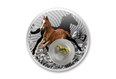 2014 Niue 1-oz Silver Year of the Horse Proof - Gold Filigree