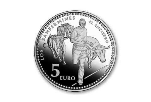 2010 Spain 5 Euro Silver Pamplona Bull Run Proof
