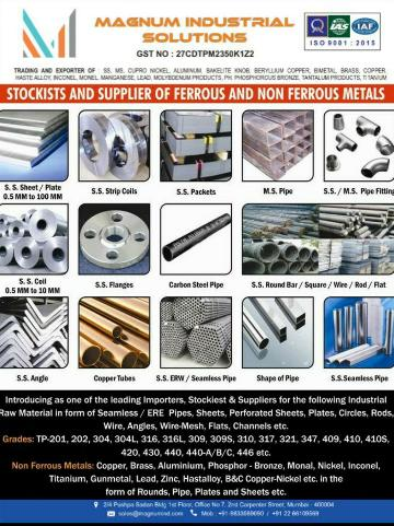 STOCKIST, SUPPLIER AND EXPORTER OF     PIPES, TUBES, SHEET/PLATES/COILS, PIPE FITTING AND FLANGES,