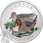 Royal Canadian Mint 2014 $10 Canadian Pintail Duck Silver Coin
