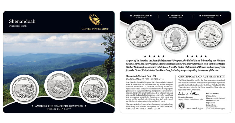 US Mint begins 2014 Shenandoah Quarters Three-Coin Sales