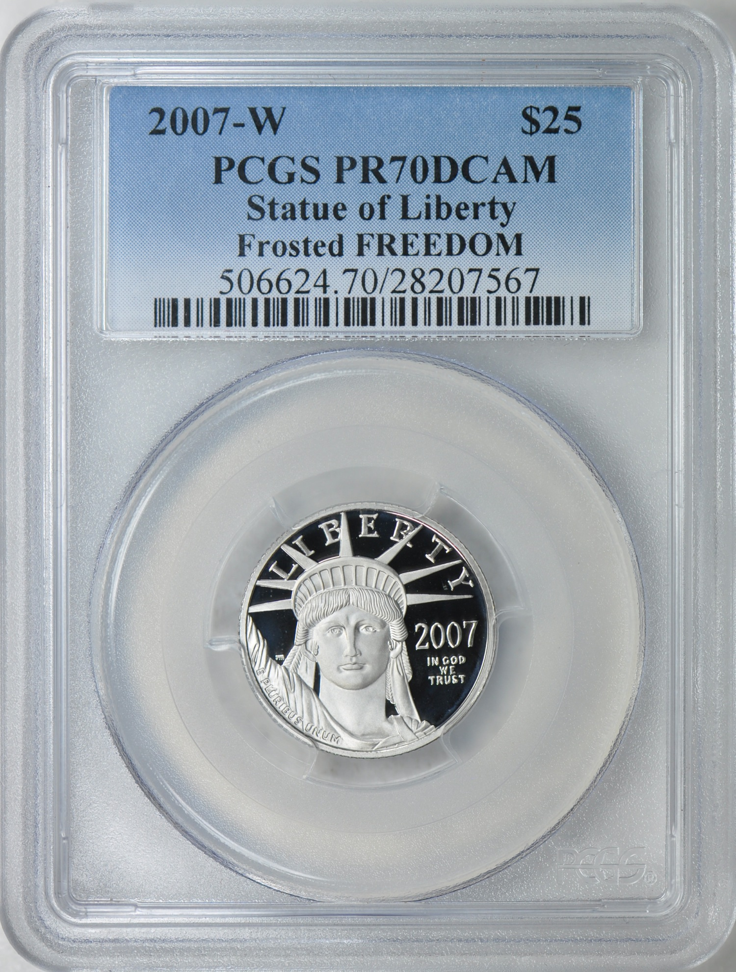 Rare 2007 $25 Platinum Eagle Frosted Freedom Variety Draws 52 Bids