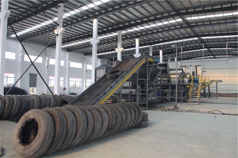 Tyre powder production line 9 tire granulators equipment for Scrap tractor tires