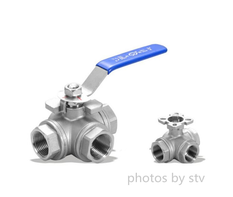 3 Way Ball Valve,T Type,CF8M Body,1000WOG,NPT End
