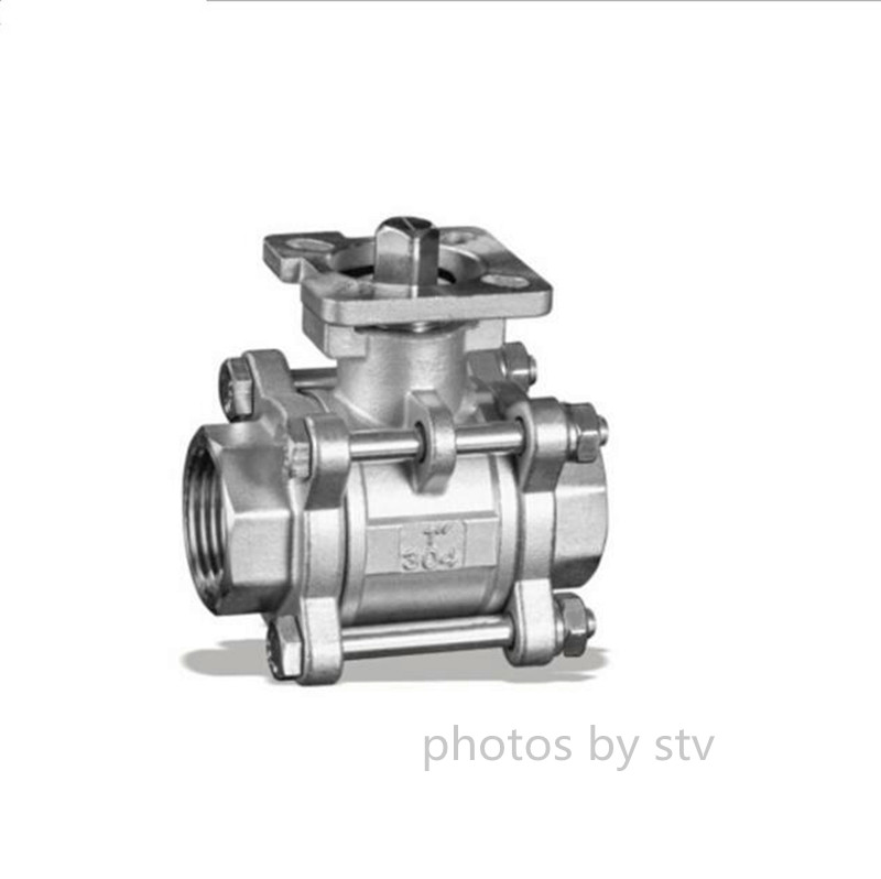 3 Piece Ball Valve,ISO5211 Pad,304 Material,DN25,NPT End