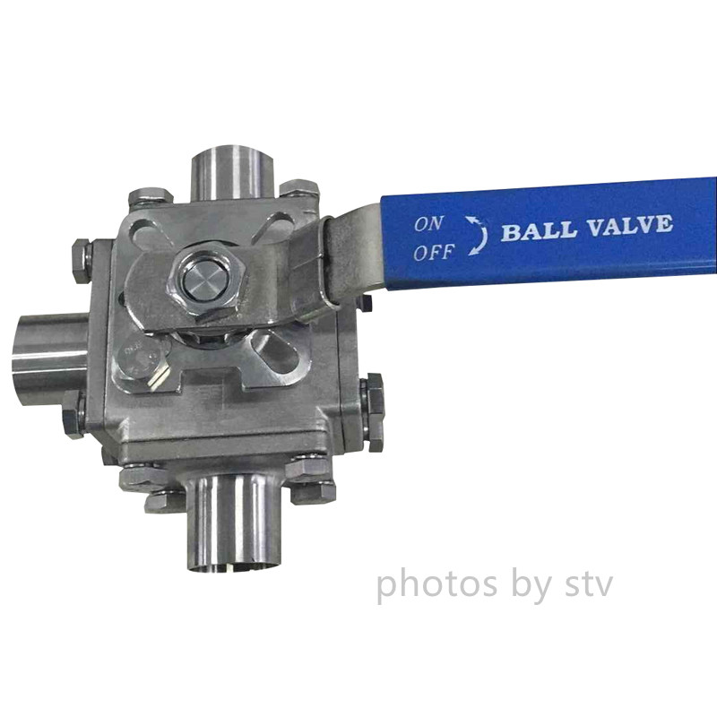 Sanitary 3 Way T Type Ball Valve, Total 304, PTFE Cavity Filled Seat,Butt weld End